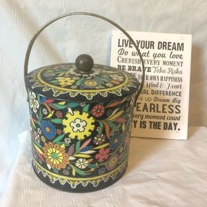English biscuit tin by Daher; bright enamel flower